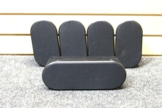 USED SAMSUNG 5 PC. BLACK SURROUND SOUND SPEAKER SYSTEM PN: PS-CX40 & PS-FX40 (x4)