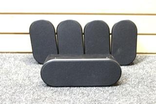 USED SAMSUNG 5 PC. BLACK SURROUND SOUND SPEAKER SYSTEM PN: PS-CX40 & PS-FX40 (x4)
