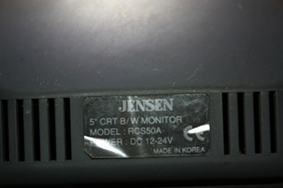 USED MOTORHOME JENSEN BLACK & WHITE REAR VIEW RCS50A MONITOR FOR SALE