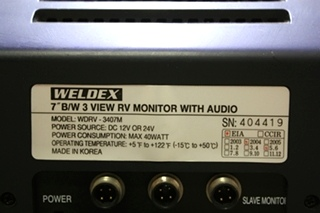 USED RV WELDEX B/W 3 VIEW MONITOR WITH AUDIO WDRV-3407M FOR SALE
