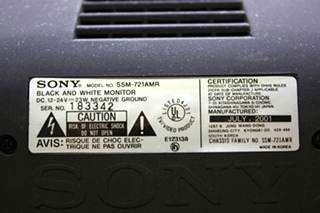USED MOTORHOME SSM-721AMR SONY BLACK AND WHITE MONITOR FOR SALE
